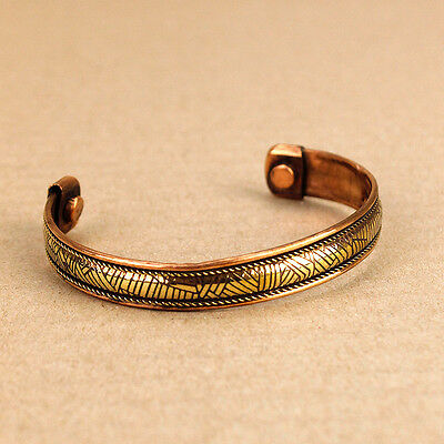 Magnetic Copper Cuff Bangle Popular Arthritis Rheumatic Relief 1cm Wide - Etched