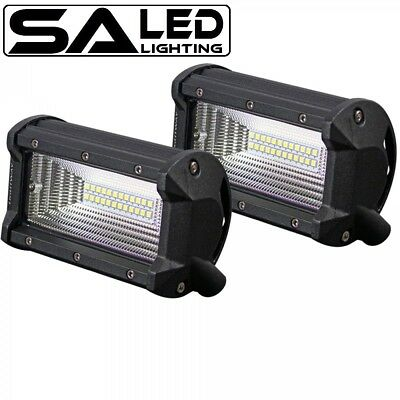 Pair 5Inch 72W Cree Led Light Bar Flood Beam Offroad Work Driving 4Wd