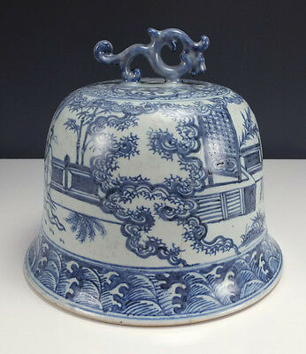 Antique Chinese Ceramic Porcelain Lid Cover Hand Painted Large