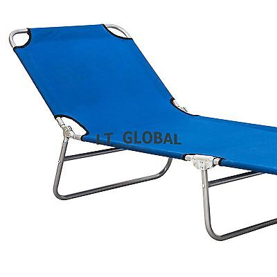 Aluminium Folding Tanning Sun Lounge Pool Beach Double Size Chair Sunbed Blue