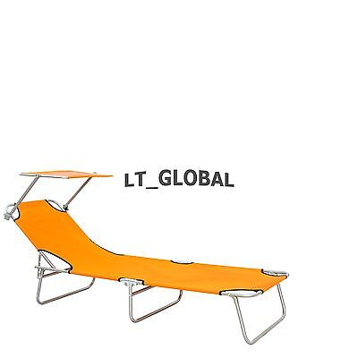 Aluminium Folding Reclining Sun Bed With Sunshade Lounge Pool Beach Chair Orange
