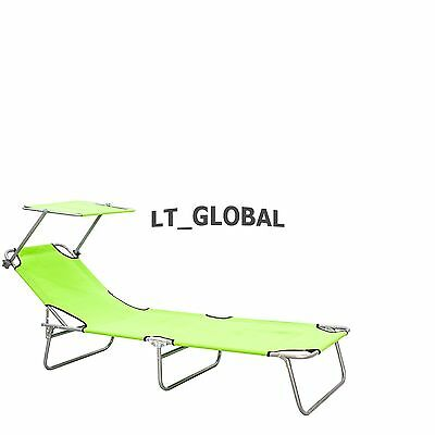 Aluminium Folding Reclining Sun Bed With Sunshade Lounge Pool Beach Chair Green