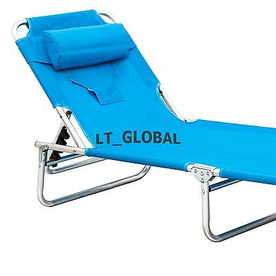Aluminium Folding Tanning Reclining Sun Bed Lounge Pool Beach Chair Sunbed Blue