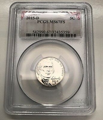 2015 D Jefferson Nickel Ms67Fs  Pcgs