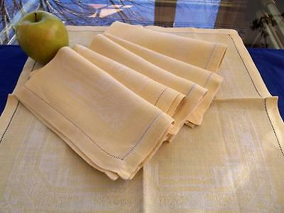 """6 Antique Soft Yellow Geometric Damask Linen 15"""" Hemstitched Napkins Easter"""