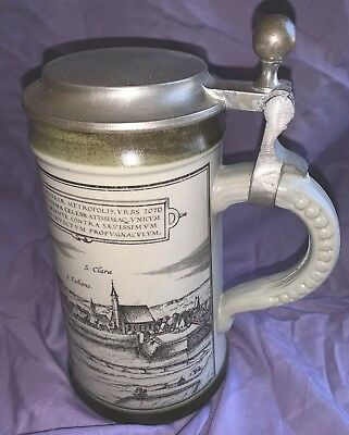 Beautiful Antique German Tankard Mug Stein with Pewter Hinged Cover c1900