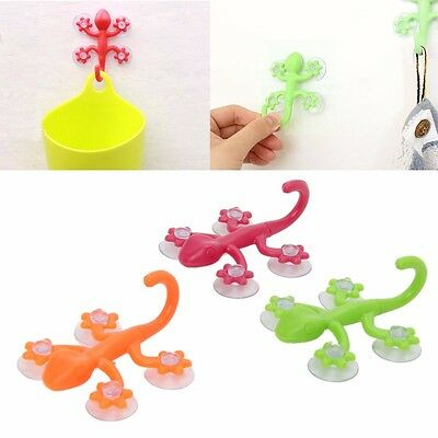 1/5/10pcs Gecko 4-Suction Cup Glass Window Wall Hooks Hanger Bathroom Kitchen