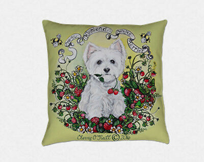 West Highland White Terrier Pillow Westie Cottage Home Accent Strawberries