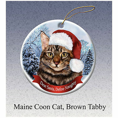 Maine Coon Brown Tabby Cat Howliday Porcelain China Dog Christmas Ornament