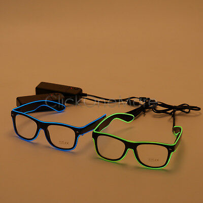 Flashing LED Neon Light Up Shades Shutter Sunglasses Glow Party Glasses Disco