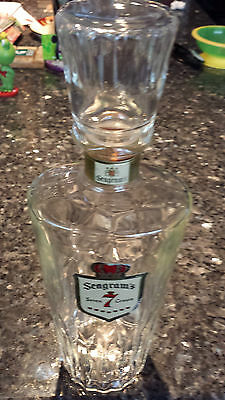 Vintage Seagram's Bottle Decanter W/ Glass Corked Stopper Seven Crown Collectibl
