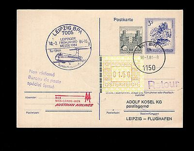 Austria 1984 pre-paid flight postcard uprated with frama issue see scans x2