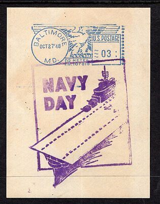 USA 1948 postage paid piece BALTIMORE with NAVY DAY cachet see scans x2