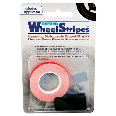 Oxford Motorcycle Motorbike Wheel Stripes Tape Flo Orange & Applicator 7Mmx6M