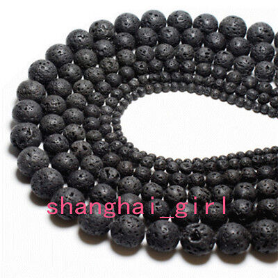 "Natural Black Volcanic Lava Gemstone Round Beads 15.5"" 4/6/8/10/12/14/16/18mm"