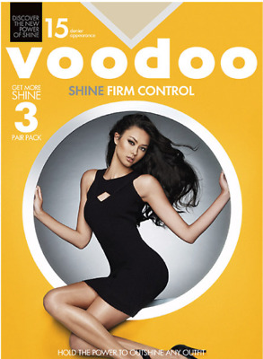 WOMENS 3 PACK VOODOO Shine Firm Control Sheers Stockings Shapewear Tights