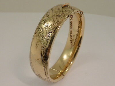 Vintage Silver Lined 9ct Yellow Gold Hand Engraved Hinged Oval Bangle
