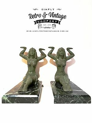 Pair of Art Deco Marble and Brass Egyptian Revivalist 1920s Figural Bookends