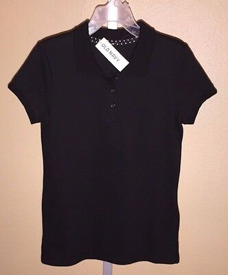 Girl's Old Navy Black Jack Solid Uniform Polo Shirt Top, Sizes S, M, L, XL