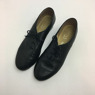 Bloch Black  Leather Tap Shoes Ladies Size 9.5 Technotap #2H Lace Up