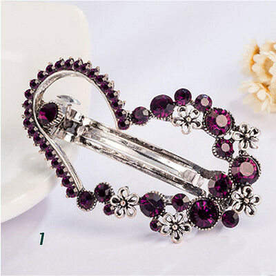 New Fashion Women Girls Crystal Rhinestone Barrette Hair Clip Clamp Hairpin