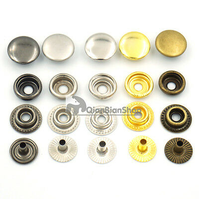 12mm 15mm Fastener Rivet Buttons Craft Snaps Studs Hardware Bags Clothes Sewing