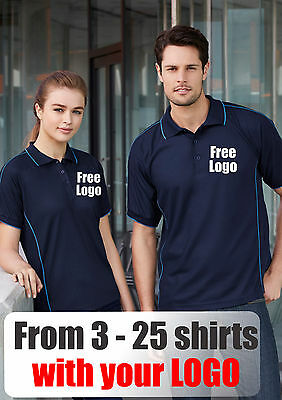 From 3 - 25 shirts Men Resort Polo with Your Embroidered LOGO (Biz P9900)