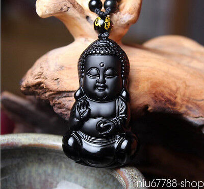 100% Natural Black Obsidian Carved Baby Buddha Lucky Pendant + Beads Necklace