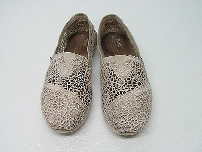 Toms Fabric Natural Morocco Crochet Flats Shoes Classic Slip On Size Womens 7