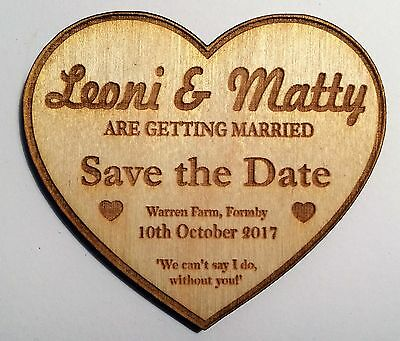 Heart 'Save the Date' magnets - high quality wooden personalised wedding item