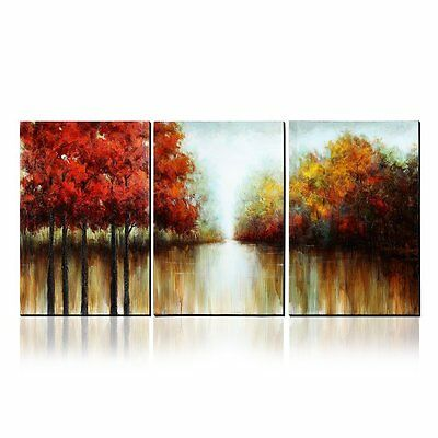 Asmork 100% Hand Painted Autumn Scenery Art Canvas Paintings Home Decor 3 Pieces