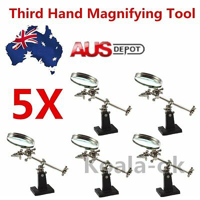 5X Professional Third Hand Soldering Iron Stand Jewelry Helping Magnifying Tool