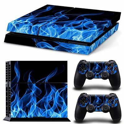 Vinyl Sticker Pattern Decals for PS4 Console & Controller Skin Blue Flame