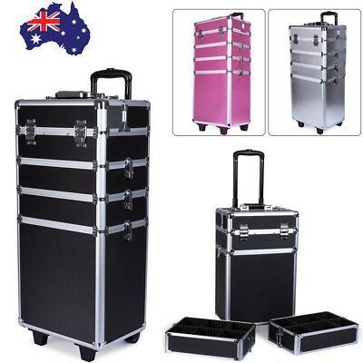 Pro 4 In 1 Portable Cosmetics Beauty Case Makeup Box Organiser Trolley Carry Bag