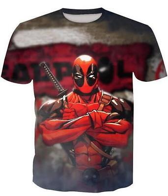 New Fashion Womens/Mens Cartoon Anime Deadpool 3D Print Casual T-Shirt SGC273