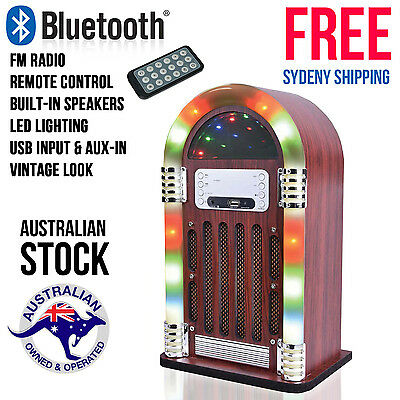 Mini Jukebox Bluetooth FM Radio USB Input MP3 Player Led Lighting Remote Retro