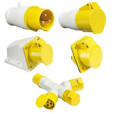 Yellow 110V 16 Amp 3 Pin Industrial Site Plug & Sockets Ip44  2P+E Male/female