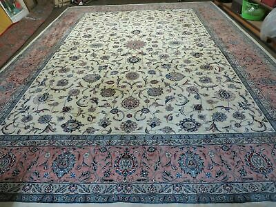 11' X15' Vintage Hand Knotted Persian Tabrizz Isfahann Wool Rug Carpet  Nice