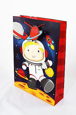 Spaceman Astronaut Gift Bag Large Boys Kids Birthday Present Wrap For Him Cute