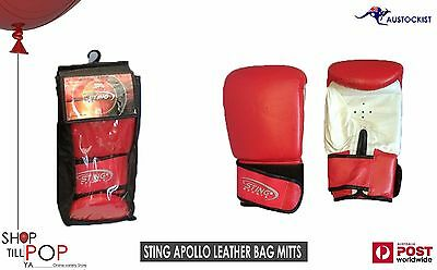 STING BAG MITTS LEATHER BOXING BAG GLOVES Mens Large Red/White BNWT Workout
