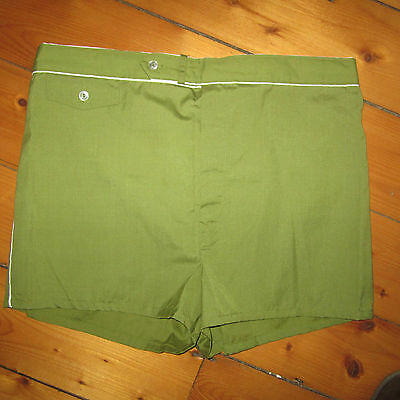 vintage mens L 1960-70s MCM Mod GREEN w White Piping Swim Suit Trunks Shorts NOS