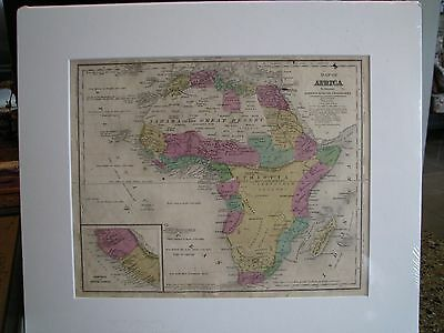 1844 Hand Colored And Engraved Map Of Africa - Sherman & Smith, N.Y.
