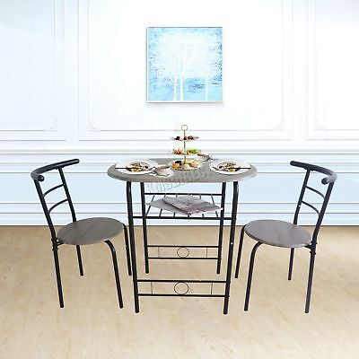 FoxHunter Dining Table Breakfast Bar 2 Chair Set Metal MDF Kitchen DS06 Black
