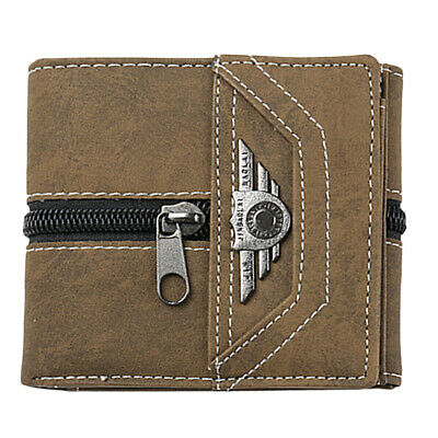 3Colors Mens Trifold Wallet Canvas Security Credit Card Holder Coins Slot