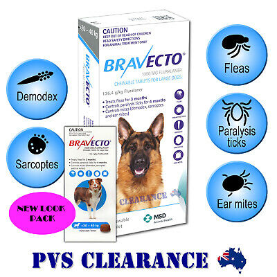 Bravecto for Large Dogs - Blue 20 - 40 kg - Single Chew - Flea & Tick Treatment