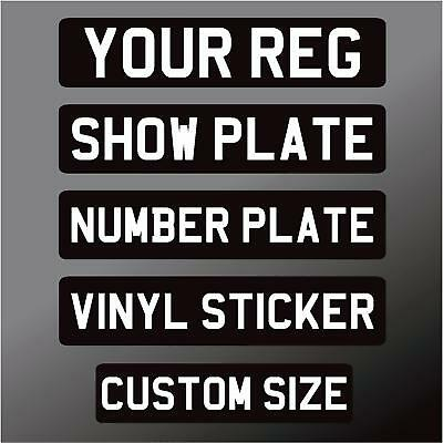 Car Stick On Show Number Plate Classic Black & White Self Adhesive Vinyl Sticker