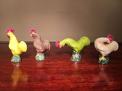 Antique Set of 4 Chinese Porcelain Roosters in Pose Marked