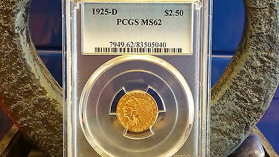 1925-D $2.50 Indian Gold Coin Pcgs Ms62
