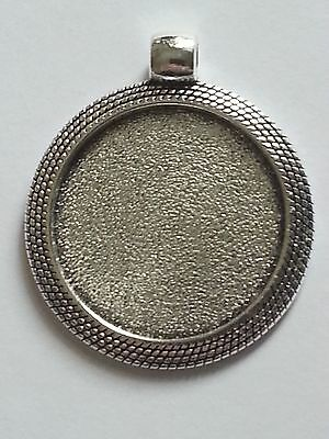 New 1pc. Tibetan Antique Silver Color 25MM Cabochon Setting Pendant Round DIY
