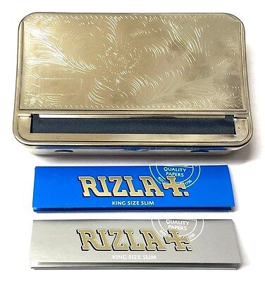 KING SIZE AUTOMATIC ROLLING MACHINE METAL TOBACCO TIN and 3 x RIZLA SLIM PAPERS